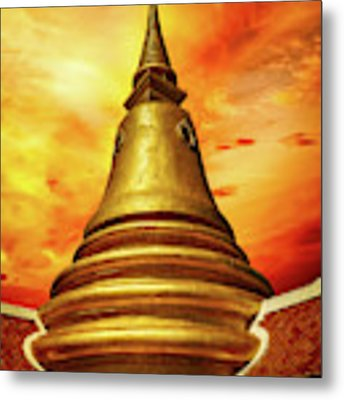 Thai Temple Sunset Metal Print by Adrian Evans