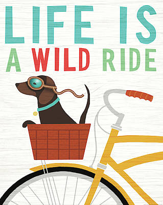 Beach Bums Dachshund Bicycle I Life Poster by Michael Mullan