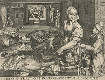Kitchen Piece Of Woman Cleaning Fish, Abraham Van Lier Poster by Artokoloro