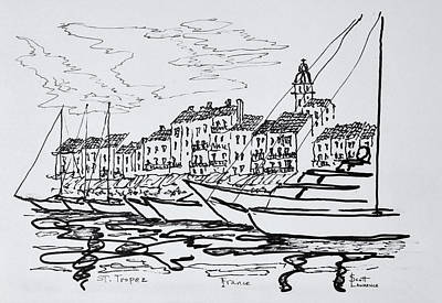 Moored Boats In The Harbor Poster
