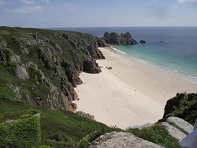 Poster featuring the photograph Porthcurno Cove by Jayne Wilson