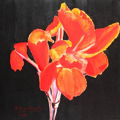 Poster featuring the painting Red Canna by M Diane Bonaparte
