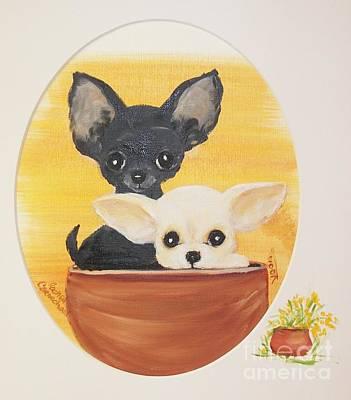Pups In A Pot Poster by Rachel Carmichael