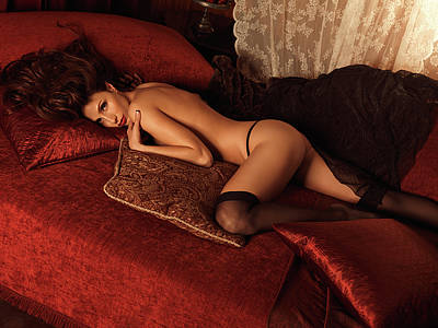 Sexy Young Woman Lying On A Bed Poster