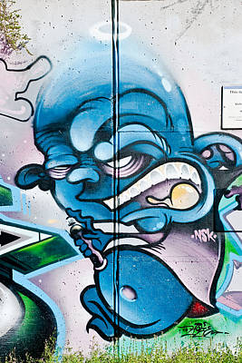 Angry Blue Creature With A Spray-paint Can Poster
