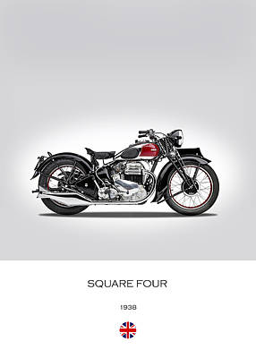 Ariel Square Four 1938 Poster by Mark Rogan