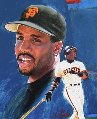 Barry Bonds In The Shadow Poster by Cliff Spohn