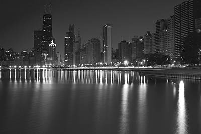 Black And White Chicago Skyline At Night Poster by Sven Brogren