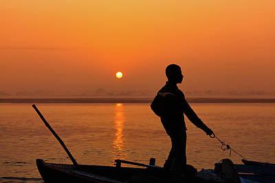 Boatsman On The Ganges Poster by Stefan Nielsen