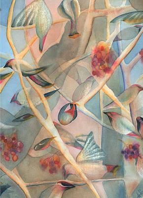 Bohemian Waxwings Poster by Anne Havard
