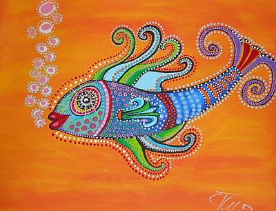 Bubble Fish Poster by Claudia Tuli