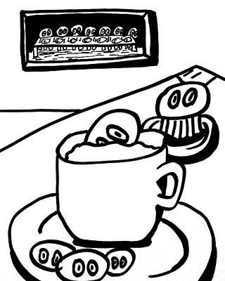 Cafe Cronkle Bw Poster by Jera Sky