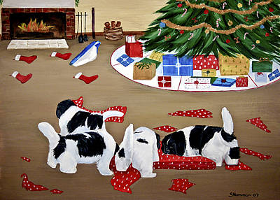 Poster featuring the painting Christmas Mischief by Sharon Nummer