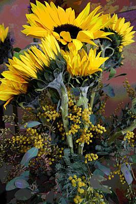 Cuddling Sunflowers Poster