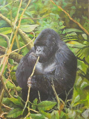 Poster featuring the painting Deep In Virunga Jungle by Noe Peralez