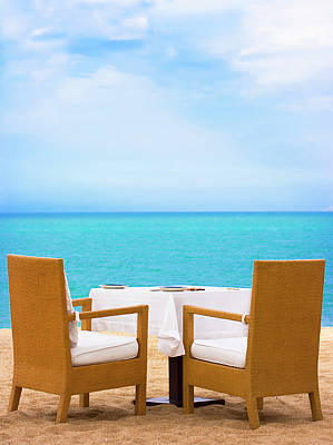 Dinner On The Beach Poster by MotHaiBaPhoto Prints