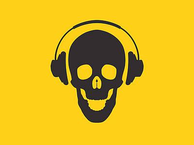 Dj Skeleton Poster by Pixel Chimp