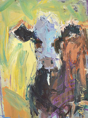 Poster featuring the painting Expressive Cow Artwork by Robert Joyner