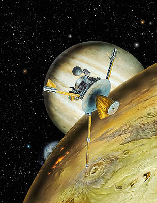 Galileo Spacecraft With Io And Jupiter Poster by David A Hardy and Photo Researchers