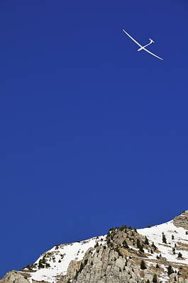 Glider Flying Over Snowy Mountain Poster by Sami Sarkis