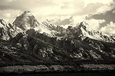 Grand Teton Range In Vintage Light Poster by The Forests Edge Photography - Diane Sandoval