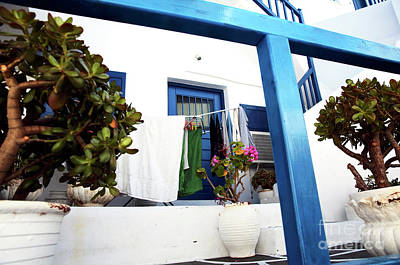 Hanging Laundry In Mykonos Poster
