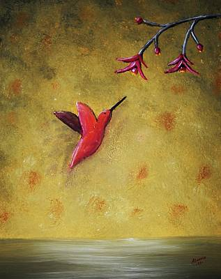 Poster featuring the painting Hummingbird by Edwin Alverio
