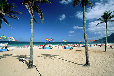 Ipanema Beach With Rainbow Flags Poster