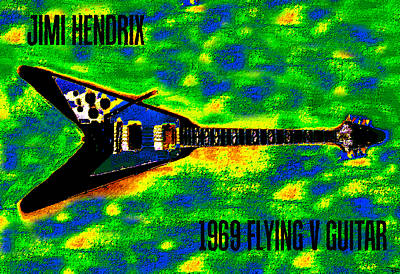 Jimi Hendrix Flying V Poster Art Poster by David Lee Thompson