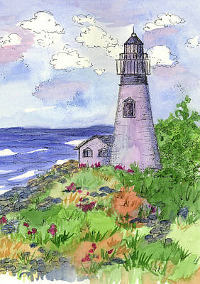 Poster featuring the painting Lighthouse In Summer  by Cathie Richardson
