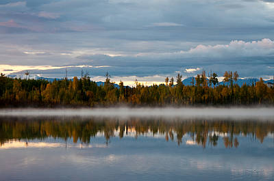 Morning Mist On Hourglass Lake Poster by Melissa Wyatt