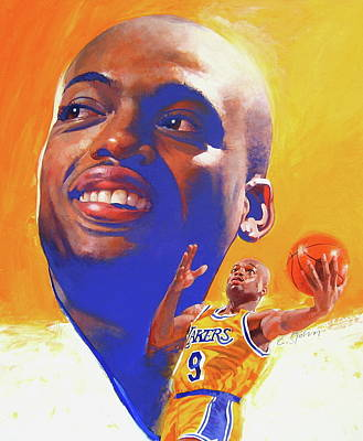 Poster featuring the painting Nick Van Exel by Cliff Spohn