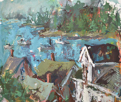 Poster featuring the painting Original Modern Abstract Maine Landscape Painting by Robert Joyner