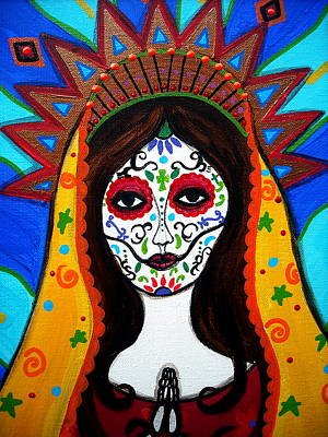 Our Lady Of Guadalupe Dia De Los Muertos Poster by Pristine Cartera Turkus
