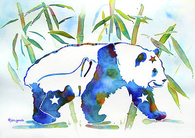 Panda Bear With Stars In Blue Poster by Jo Lynch