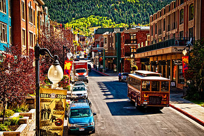 Park City Trolley Poster by La Rae  Roberts