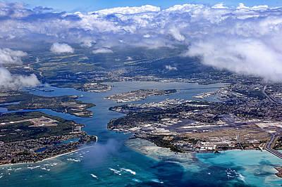 Pearl Harbor Aerial View Poster by Dan McManus