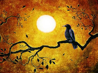 Raven In Golden Splendor Poster by Laura Iverson