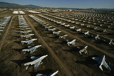 Rows Of Fighter Jets In Storage Poster by Paul Chesley