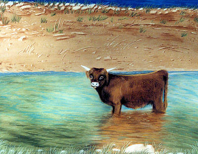 Poster featuring the pastel Scottish Highland Bull by Jan Amiss