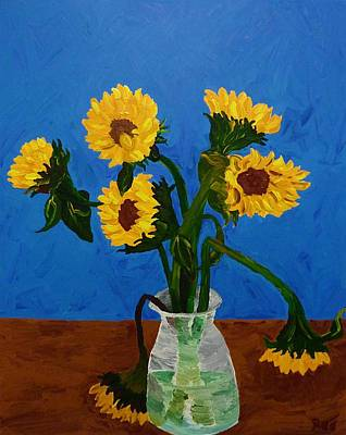 Seven Sunflowers In Vase Poster