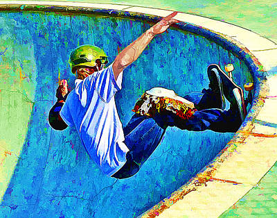 Skateboarding In The Bowl Poster by Elaine Plesser