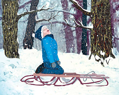 Poster featuring the digital art Snow Trance by Terry Cork