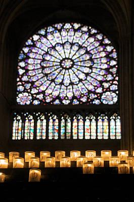 Stained Glass Window Of Notre Dame De Paris. France Poster by Bernard Jaubert