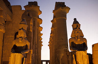Statues Of Ramses II Rest In The Sunset Poster