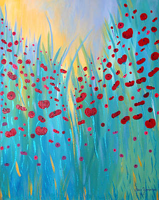 Sunlit Poppies Poster