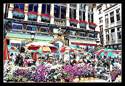 Sunny Day On The Grand Place Poster by Carol Groenen