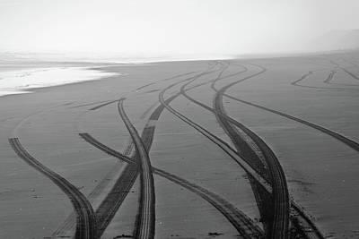 Tracks On Black Sand Poster by Yurix Sardinelly