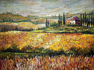 Poster featuring the painting Tuscan Wheat by Lou Ann Bagnall