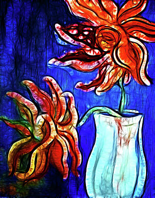 Two Flowers With Vase Poster